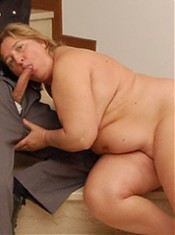 Plump housewife sits on cock and grinds her fat ass till she cums!